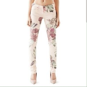 NWOT GUESS Peach Floral Low-Rise Jeggings